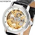 Винтажные мужские автоматические часы с скелетом  кожаные роскошные брендовые механические наручные часы в стиле стимпанк для мужчин  спор...