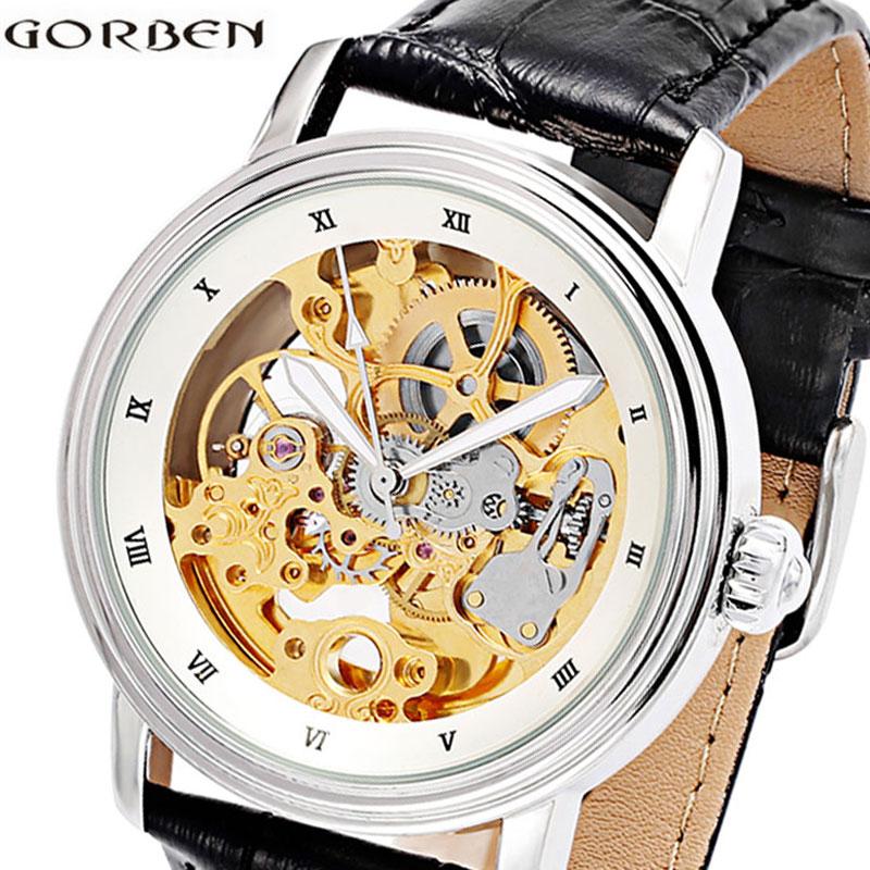 цена на Mens Skeleton Automatic Watch Leather Vintage Men Mechanical Wrist Watch Business Sports Luxury Male Clock Self-wind Steampunk