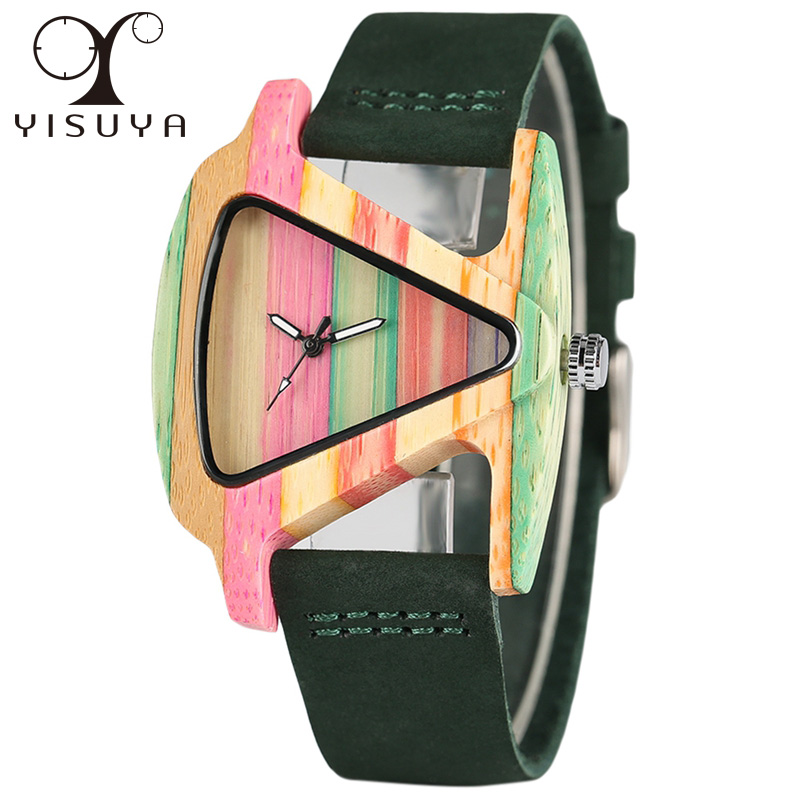 YISUYA Women's Fashion Wooden Watches Quartz Triangle Colourful Dial Creative Hand-made Dress Wristwatch genuine Leather Gifts simple fashion hand made wooden design wristwatch 2 colors rectangle dial genuine leather band casual men women watch best gift