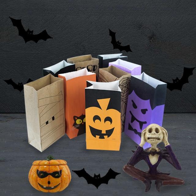 10 pcs terror halloween theme party paper bag diy party decorations