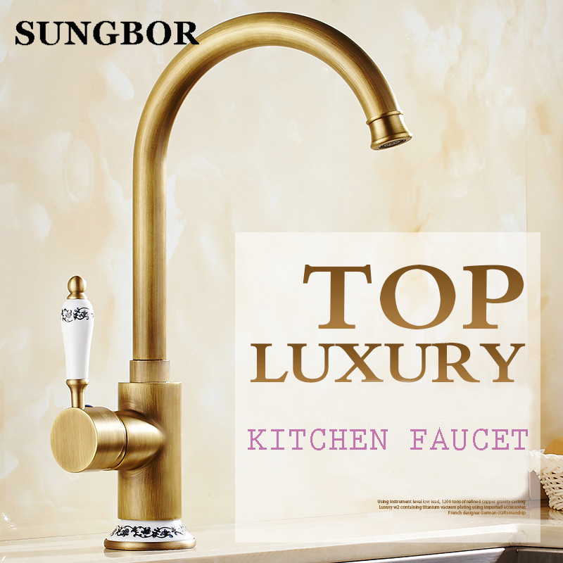 Free shipping new style antique brass finish kitchen faucet kitchen sink basin faucet mixer tap with ceramic hot and cold water old antique bronze doctor who theme quartz pendant pocket watch with chain necklace free shipping