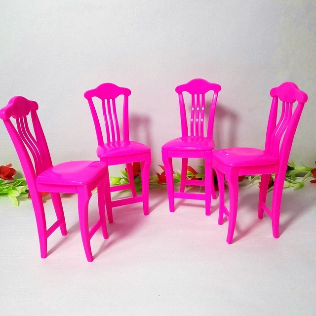 4pcs/lot Pink Nursery Baby High Chair Table chair 1/6 for Barbie Doll\u0027s