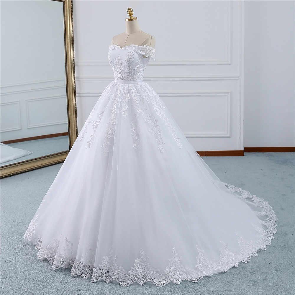 Fansmile 2020 Lace Gowns Wedding Dress Robe Princesse Mariage Plus Size Long Train Tulle Mariage Bridal Wedding Turkey Fsm 433t Wedding Dresses Aliexpress