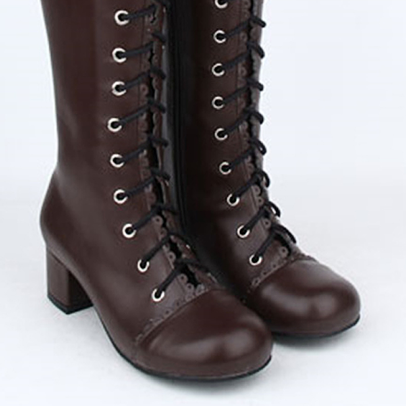 Ladies Fashion Brown Suede Mid Calf Boot With High Block Heel Whipping Lace Trim