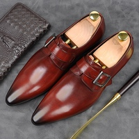 Italian Designer Genuine Leather Formal Dress Party Men's Monk Strap Shoes Pointed Toe Belt Casual Wedding Office Flats AM146