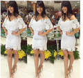 2016 New Dress Fashion New arrival Cream Lace Off-The-Shoulder Mini Dress White Summer Casual Party Dress for Women Wholesale