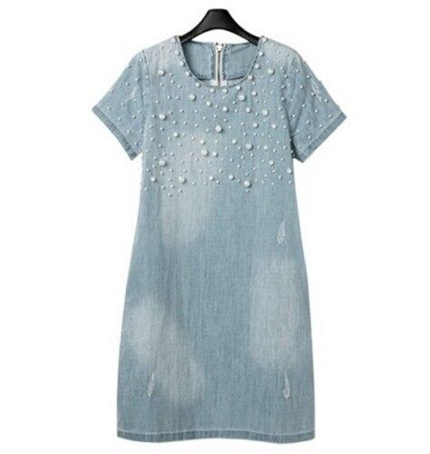 Women summer dresses washed washed bead denim Dress 2018 new female short sleeve Maxi dress Knee-Length Large size MQUEENFOX