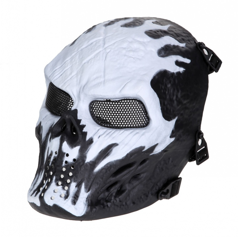 Tactical Military Outdoor M06 Airsoft Paintball Skull Ghost Protective Full Face Mask CS Wargame Halloween Cosplay Party Wisk