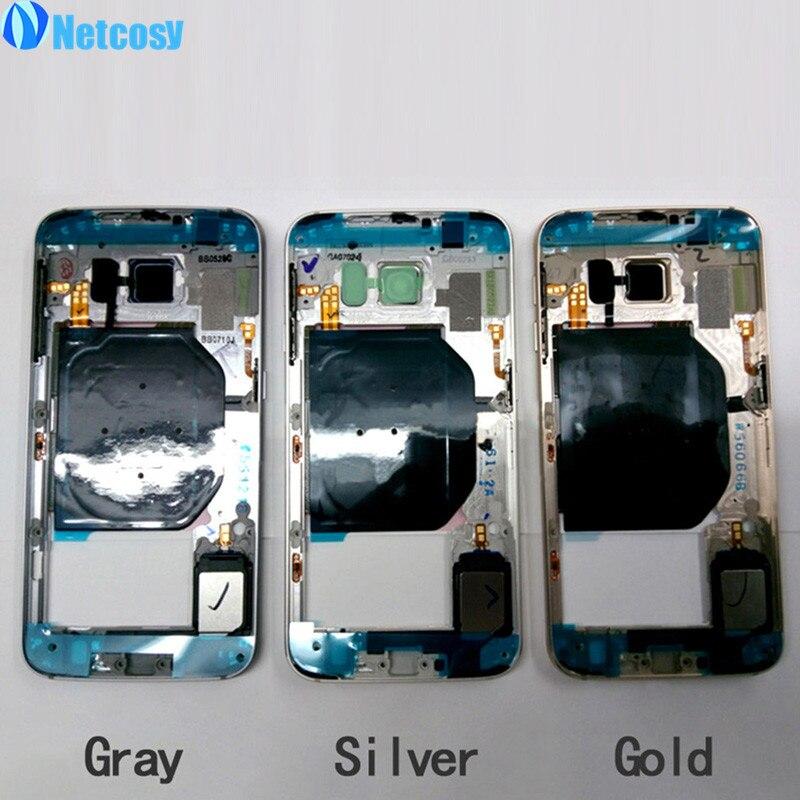 Netcosy Moyen-mi Plaque Cadre Lunette Couvercle Du Boîtier Pour Samsung Galaxy S6 G920 Moyen Cadre Pas Cher Replacemenrt Réparation Partie