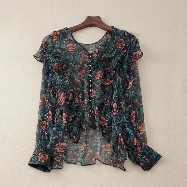 2020 New Women Ruffle Shirt Green Flower Print Long Sleeve V Neck Thin Silk Bohemian Blouse Top