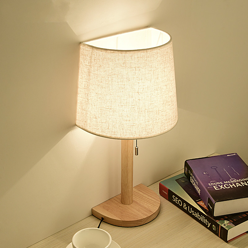 Simple fabrics solid wood table lamp bedroom bedside light creative home decor warm study desk lamp With pull switch mx7051101