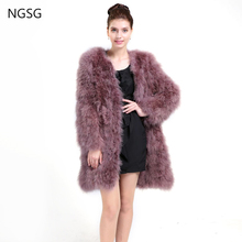 Real Fur Coat Women's coat Ostrich Material Female Accessories 90 CM Length Plus Size For Young Lady Trendy Spring DS1006-1