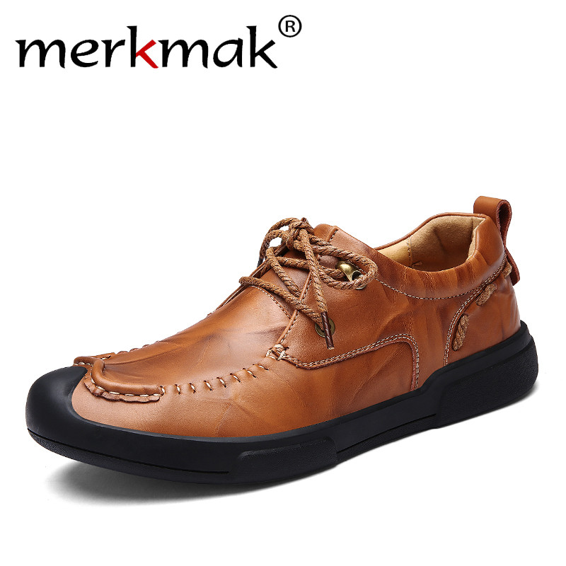 Merkmak 2018 New Arrival Men Casual Shoes Luxury Brand Comfortable Breathable Fashion Genuine Leather Men Shoes Drop Shipping 2017 new autumn winter british retro men shoes zipper leather breathable sneaker fashion boots men casual shoes handmade