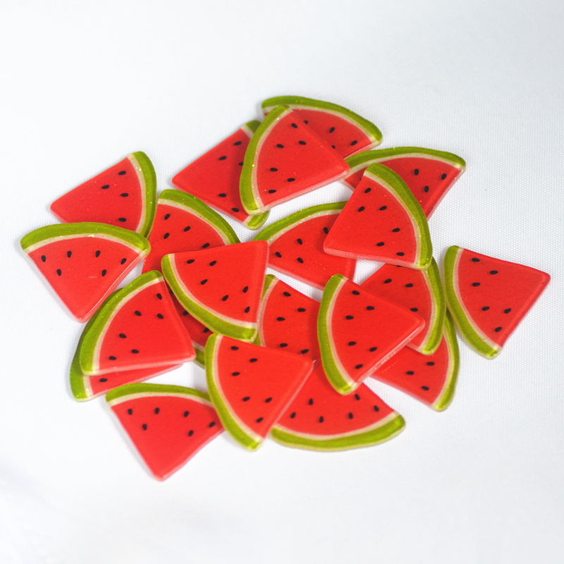 10 Polymer Clay Cabochons Watermelon Flat Backs Large 20mm Slime Charms Flatback