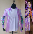 Rare PUNK Rock Casual Classic MJ iridescent purple twinkle organza button front This it it shirt Michael Jackson Costume