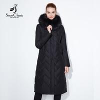 SnowClassic 여성 겨울 코트 자켓 여성 따뜻한 두꺼운 파카 여우 모피 칼라 착실히 보내다 패션 솔리드 럭셔리 X-긴 슬림 고체 2017