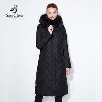 SnowClassic mulheres mulheres jaqueta casaco de inverno quente parka grosso gola de pele de raposa outwear moda de luxo sólida X-Longo Fino sólida 2017