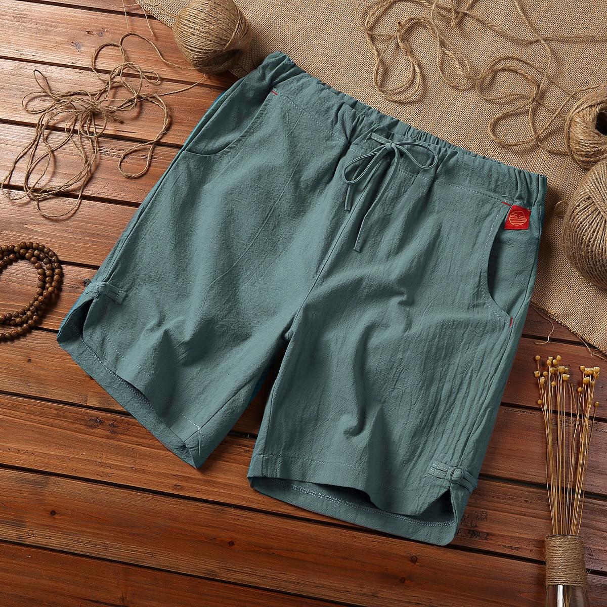2019 premium brand fashion Men summer loose cotton linen Beach   shorts  /Man slim leisure High quality linen   shorts   Large size 5XL