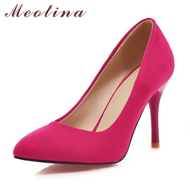 Meotina tacones altos zapatos de las señoras bombas partido punta estrecha flock zapatos de tacón de Aguja Sexy zapatos de Tacón Alto de Tamaño Grande Azul Púrpura 42 43