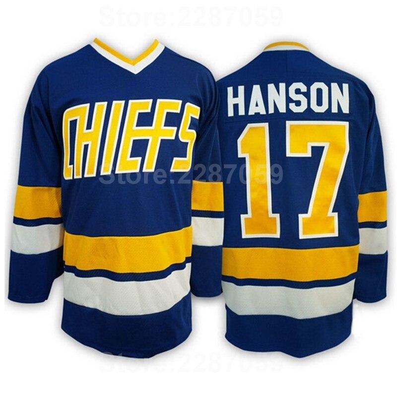 995765e90 Ediwallen Slap Shot Movie 17 Steve Hanson Jersey Men Ice Hockey Charlestown  Chiefs Jerseys Blue White Stitched Factory Price