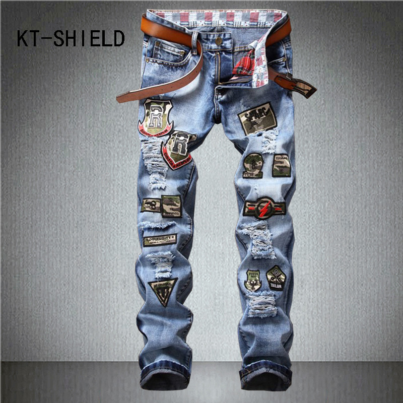 print badge biker camouflage mens jeans pants Brand ripped Holes slim Straight man Denim casual cargo trousers Vaqueros Hombre 2017 fashion patch jeans men slim straight denim jeans ripped trousers new famous brand biker jeans logo mens zipper jeans 604