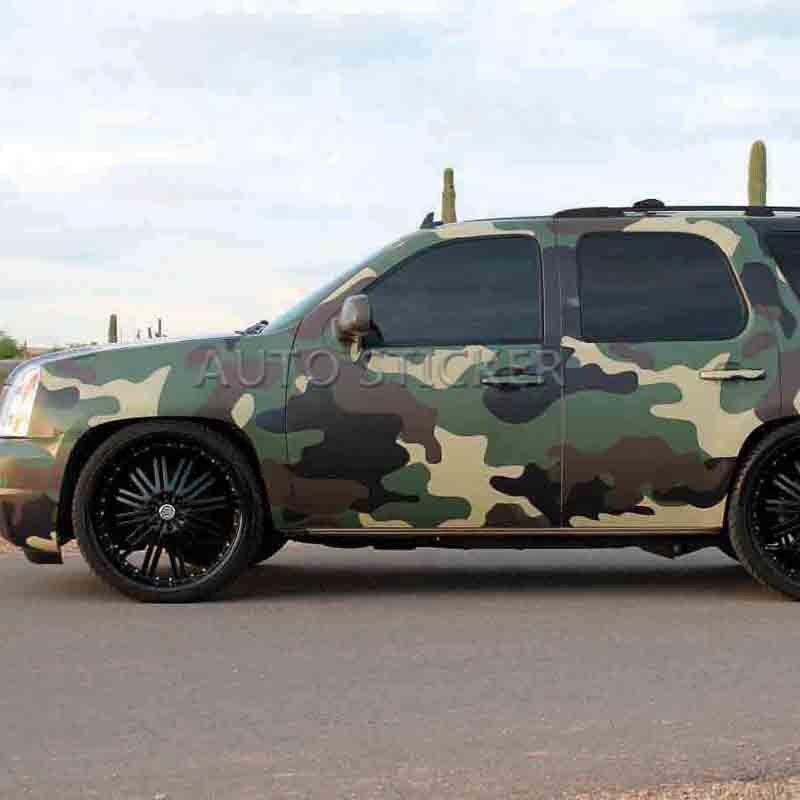ПВХ самоклеющаяся Армейский зеленый коричневый, черный камуфляж автомобилей Стикеры Обёрточная бумага виниловой пленки Camo автомобилей Мо