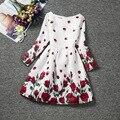 2016 new kids девушки одеваются цветочные платья для девочек детей одежда для больших девочек с длинным рукавом платье