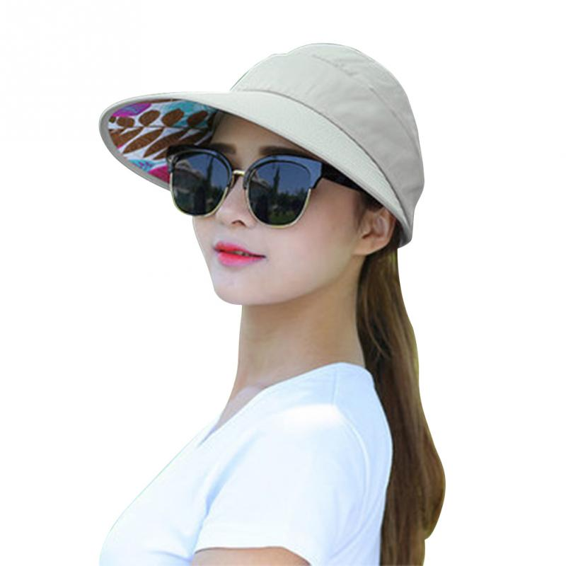 New Summer Folding Sun Hat For Women Wide Brim UV Protection Sun Hat Beach Packable Visor Hat(China)