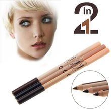 1PC Pro 2 in1 Double Ended Eyeliner Stick Waterproof Long-lasting Eyeliner Eyebrow Pen+Concealer Pencil Sexy Eye Makeup 3 Colors(China)