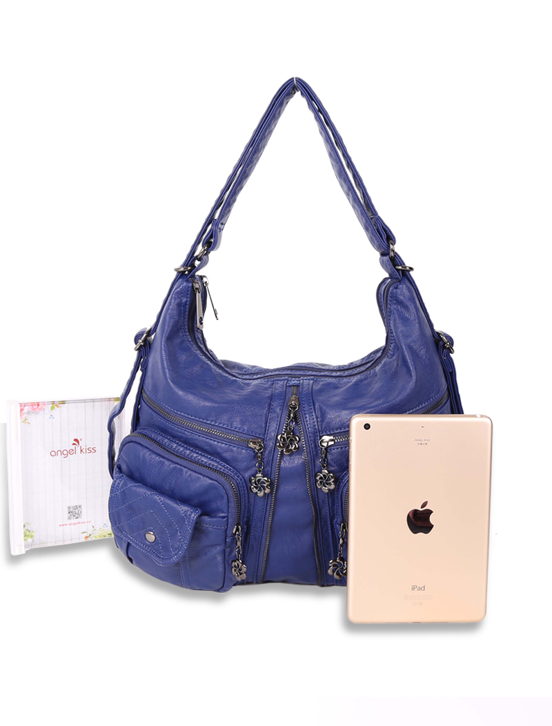 4409ad9452b9 Details about Angelkiss Two Top Zippers Multi Pockets Handbags Washed  Leather Purses Backpacks