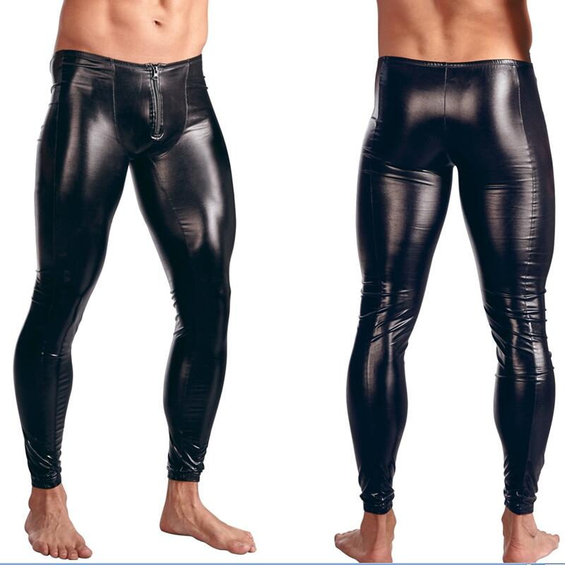 Fashion Mens Black  Faux Patent Leather Skinny Pants PU Latex Stretch Leggings Men Sexy Clubwear Bodywear Trousers