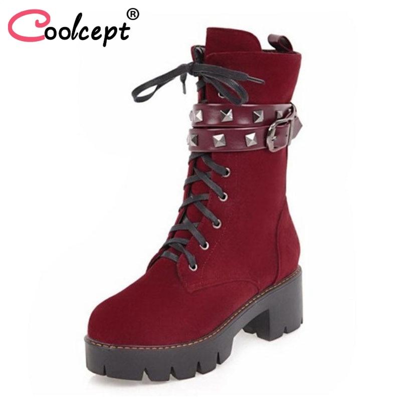 Coolcept Size 33-42 Women High Heel Boots Platform Rivet Mid Calf Boots Women Warm Fur Shoes Winter Short Botas Women Footwears брюки детские play today 368058f малиновый р 74