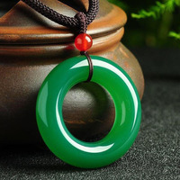 Yu Xin Yuan Fine Jewelry Natural Green Jade Medullary Round Pendant Lucky Blessing Necklace Women Men Gifts Hot 2017
