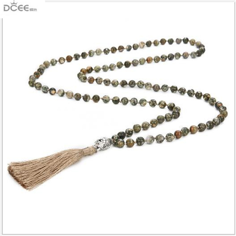 New Beaded Necklace 108 semiprecious stone tassel Buddha head pendant knotted Long Necklace.