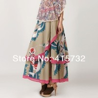 Free Shipping 2014 New Fashion Layered Cotton Long Maxi Skirts For Women Asymmetrical Floral Printed High