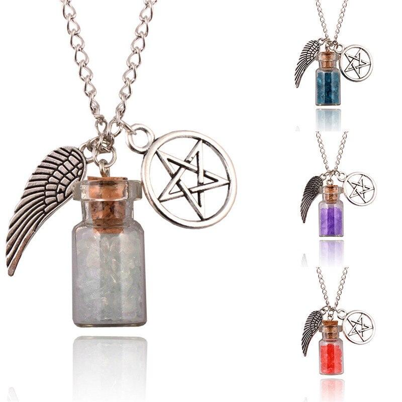 Handmade DIY Pendant Pentagram Angels Wings Five Horn Stars Glass Wishing Salt Bottle Guardian Series Necklace Jewelry Gift