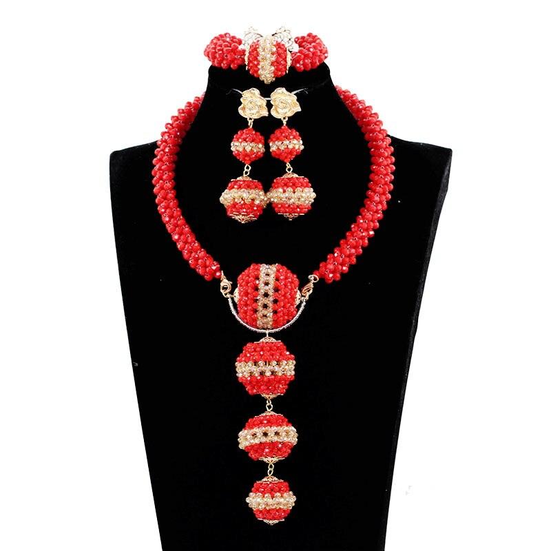Rouge perles africaines ensemble de bijoux mode costume africain ensembles de bijoux pour les femmes costume africain ensemble de bijoux livraison gratuite JB076