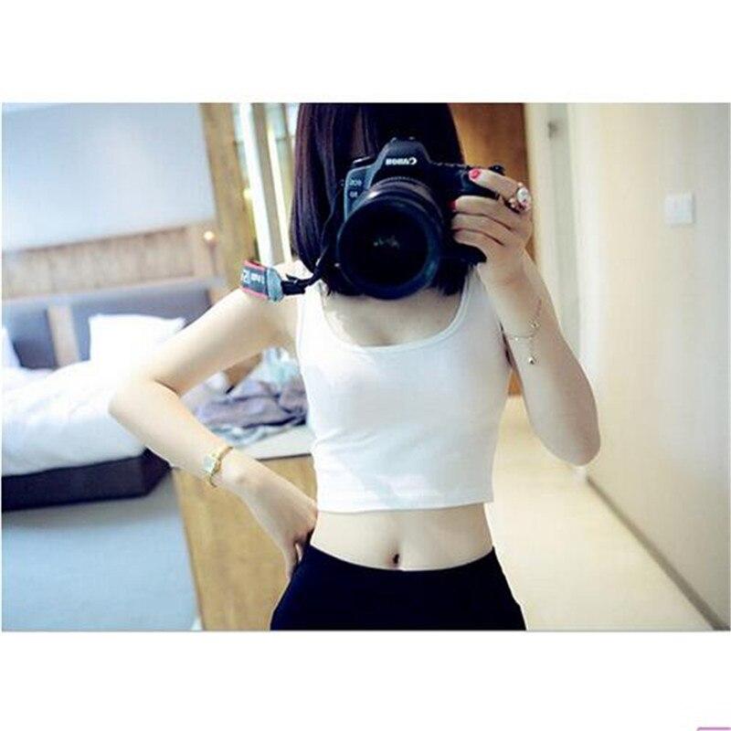 2019 Summer Slim Render Short Top Sexy Women Sleeveless U Croptops Tank Tops Solid Black White