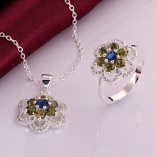 Silver plated noble luxury refined elegant high quality flowers zircon prom two piece sets classic models silver jewelry S755