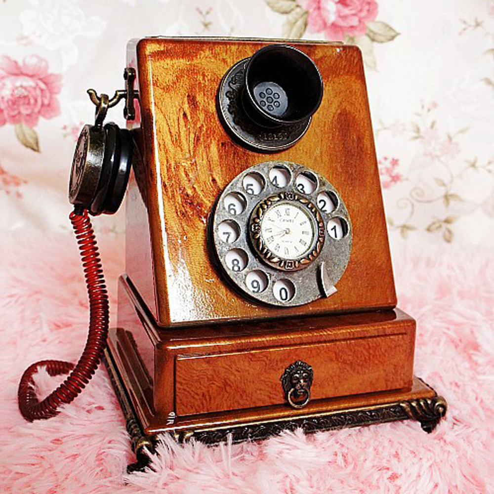 Un PCS Européenne style rétro horloge téléphone modèle tir props cadeau idées décoration de bureau ornements AP5281739