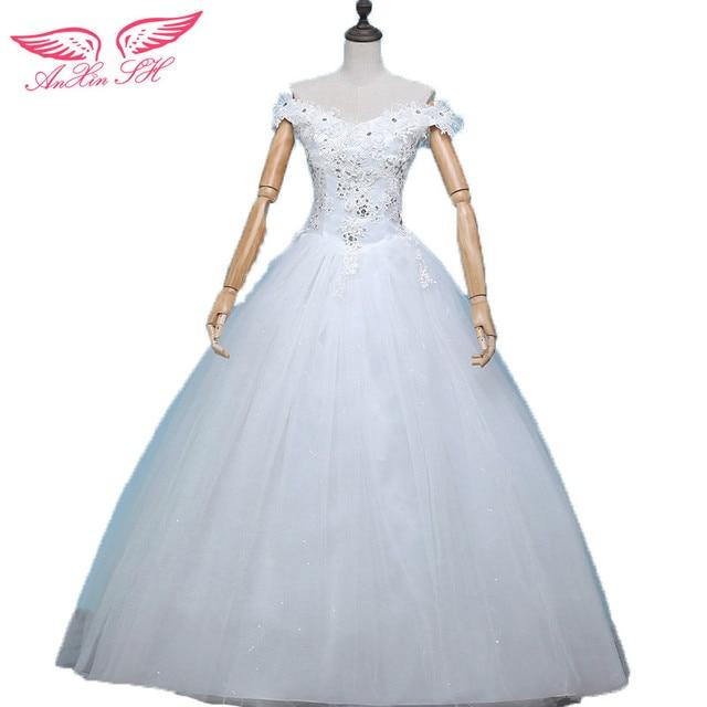 AnXin SH Flower princess wedding dress Slit neckline bride plus size ...