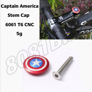 Bicycle Stem Top Cap with Screw Headset Cover Captain America 28.6mm 1 1/8