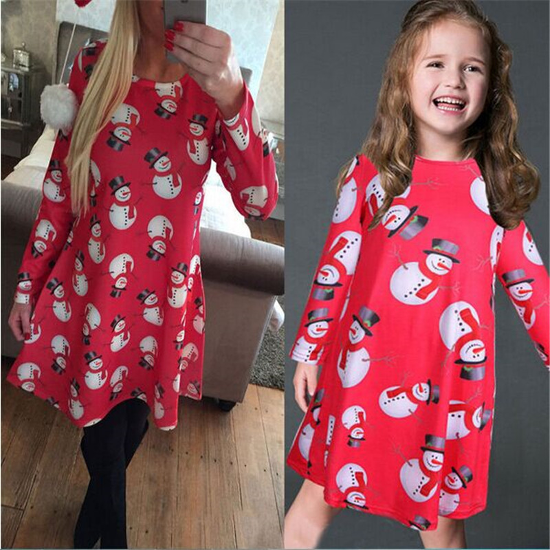 high quality Mother Daughter Dresses Long Sleeve Snowman Printing Christmas dress Family Matching Outfits Christmas Party Dress