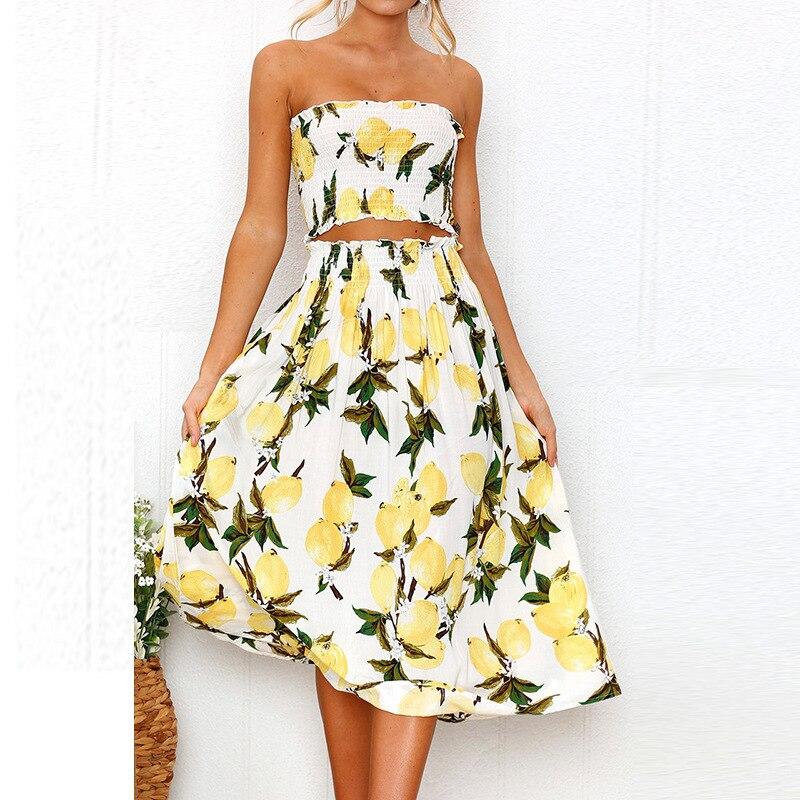 Wontive Sexy Off-the-shoulder Print Lemon Lady Suit Sunflower Wrapped Chest Backless Dress Two-piece Suit Women Dress