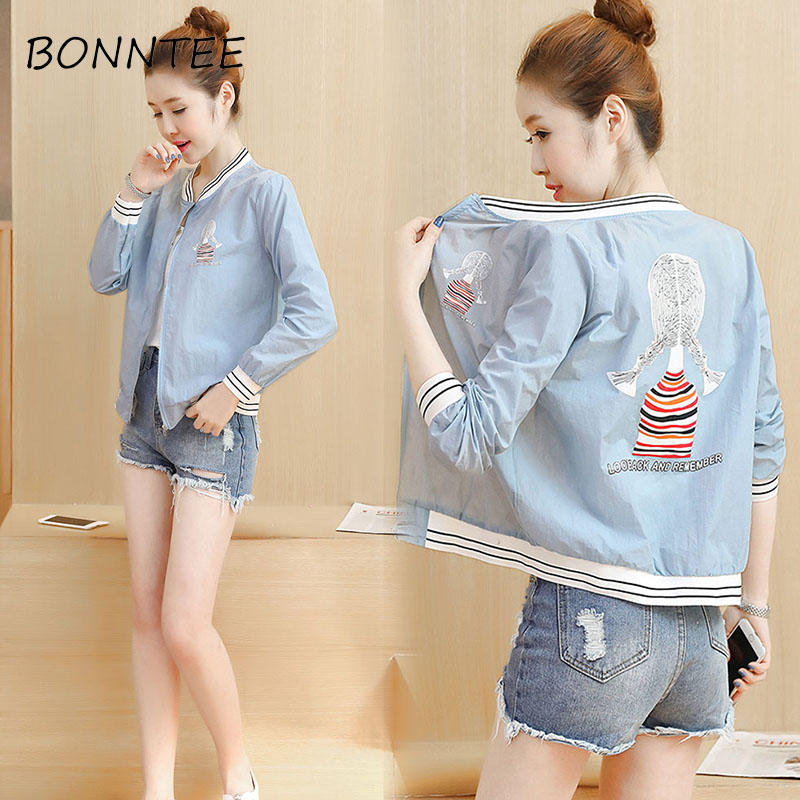 Women   Jackets   Loose Cartoon Printed O-Neck Thin Three Quarter Sleeve   Basic     Jackets   Womens Sun Shading All-match Slim Casual Chic
