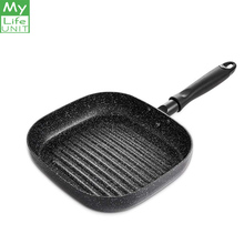 MyLifeUNIT Aluminum Non stick Square Grill Pan Steak Fry Pans Multi purpose Snowflake Striped No fumes Frying Pan 9 inch