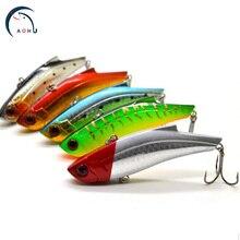 AOHU 5pcs/lot Fishing Lures Wholesale 7cm8.5g Sequin Spoon Noise Treble Hook Plastic Metal Fishing Lure Hard Bait Aohu A0060