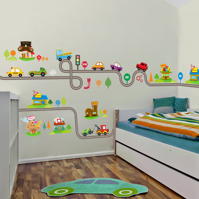 Cartoon Wall Sticker Environmental Protection Car Road Track Wall Sticker Children Nursery Bedroom Decorative Art Sticker