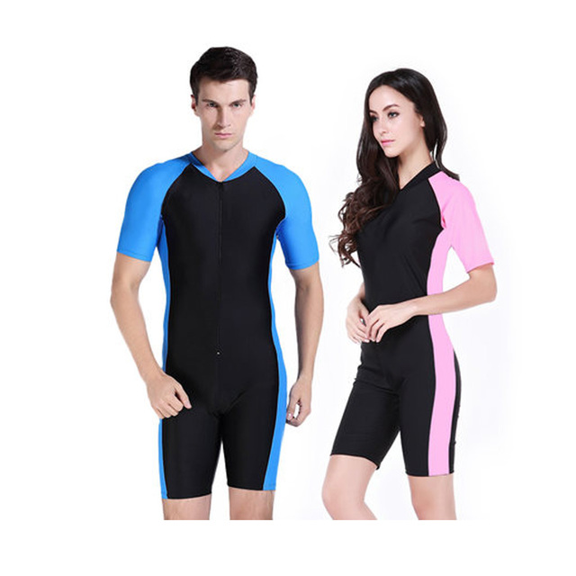 Unisex Couple wetsuit Skin Swimwear Rashguard Surf Sleeve Short Diving Suit Short Wetsuit Man Women Bathing Suit Dive Rash Guard