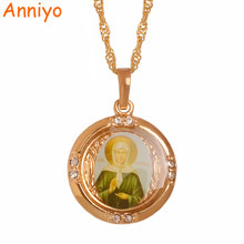 Anniyo Russia Blessed Matrona of Moscow Necklaces Catholicism/Orthodox Church Virgin Mary Jewelry Light Rose Gold #056204(China)